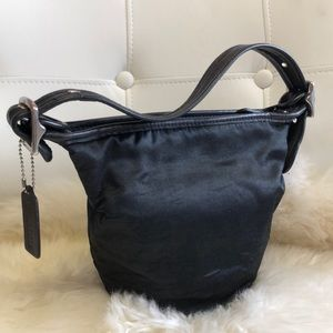 Coach Black Satin and Genuine Leather Handbag